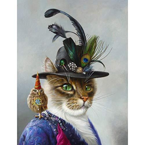 tzxdbh zwart en wit stijlvolle hond kat wolf vos muur kunst affiches en afdrukken dier het dragen van een hoed veer canvas schilderij huisdecoratie 40X50cm 39