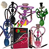 2 Hose Hookah Neon, Two Styles -12' Height, Cute Shape only Assorted 1 Hookah 25 foil Paper - Assorted 1 Flavor, Charcoal roll, 5 Mouth Tips, Tong (2 Hose, Mix Color and style1)