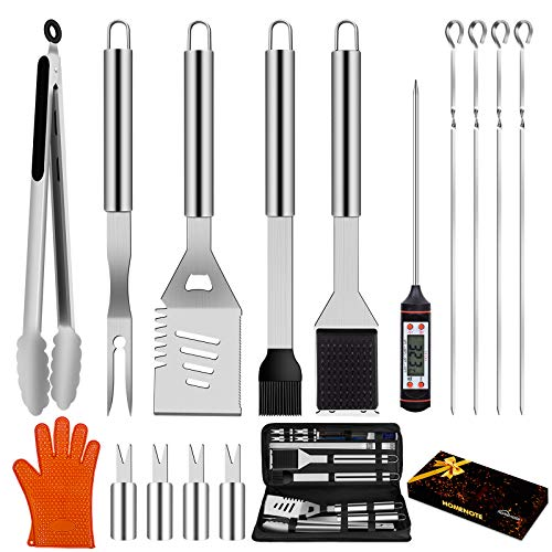 HOMENOTE Grilling Accessories, 17PCS Grill Tools Set BBQ Tool Kit Stainless Steel Grill Sets, 16 Spatula Tongs, Thermometer for Barbecue, Camping, Perfect Grill Gift