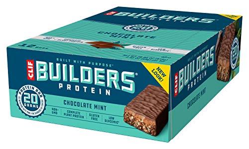 Clif Bar – Barritas de proteínas de Builders Chocolate Mint, caja de 12 unidades