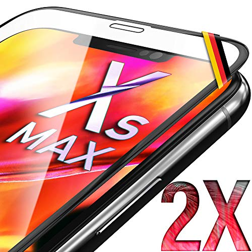 UTECTION 2X Full Screen Schutzglas 3D für iPhone XS MAX - Perfekte Anbringung Dank Rahmen - Premium Displayschutz 9H Glas - Kompletter Schutz Vorne - Folie Schutzfolie Schutzglasfolie Ultra Clear