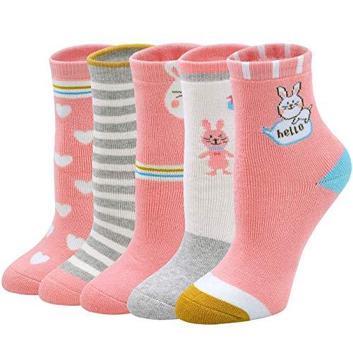 Socken Mädchen Winter Dicke Kindersocken Baumwolle Lustige Thermo Socken mit Frotteefutter Warme Neuheit Tiermuster Socken für kleine Mädchen Jungen Kleinkind Größe 24-29, 2-11 Jahre alt, 5 Paare
