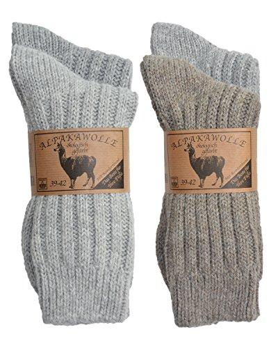SPITZE SOCKS 4 pares de calcetines de lana de alpaca para hombre y mujer, la cintura cómoda original, grueso y cálido, 3 combinaciones de colores, 4 tamaños, fabricado en Europa tonos grises 35-38