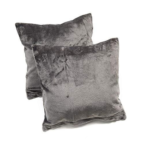 MALIKA Nicky-Teddy Cashmere Touch Coral Fleece Kissenbezug Kissenhülle alle Größen Couchkissen Sofakissen Deco, Größe:2X 80x80 cm, Designe:GRAU