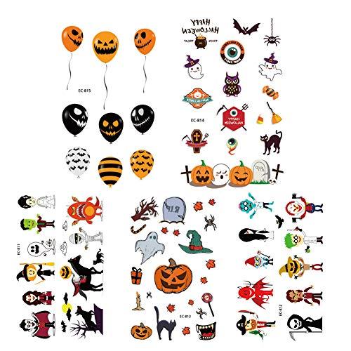 5 Hojas De Halloween Craft Etiqueta Surtido Estilo De Halloween Halloween Pegatinas Tatuajes Temporales Con Calabaza Fantasma Etiquetas Engomadas Del Cráneo De Halloween Party Supplies Faovrs De