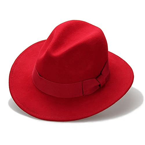 Vitality Shop Women s 100% Wool Felt Hat Jazz Hat Cowboy Hat Big Bowknot a8358028e742