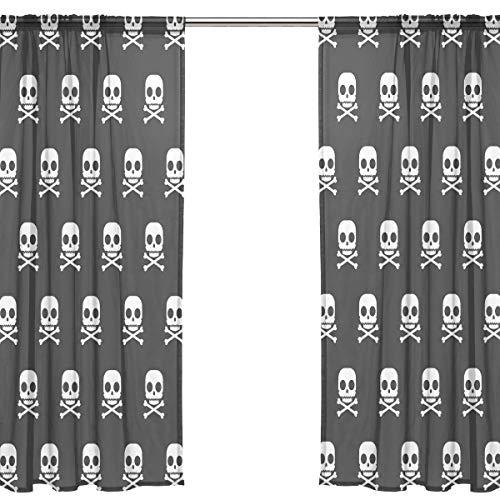 Orediy Vorhang aus Voile, transparent, 2 Paneele, weiße Totenköpfe, 40% Verdunkelungsstange, Lange Gardine, Fensterbehandlung, Schlafzimmer, Wohnzimmer-Dekor, Polyester, Multi, 2 * 140W x 213 H