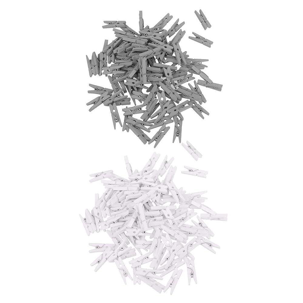 ブッシュ忌み嫌う債権者dailymall フォトクリップ用200個塗装木材洗濯挟み木製クリップピンスクラップ予約クラフトギフトラッピング(シルバー、ホワイト))