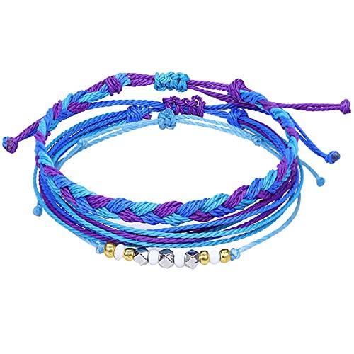 1 pulsera para hombres púrpura concha marina tejida a mano hilo de cera tres piezas brazaletes exóticos señoras