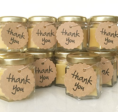 Pure Beeswax Candle Favors - Qty 24 Handmade Thank you Gift, Bridal Wedding, 2oz