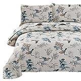 VITALE Queen Size Summer Bedspread Set Jacquard Birds Floral Quilts Coverlet Set Full/Queen with Queen Pillow Shams,Lightweight Bedspreads Home Decor Blue Cream