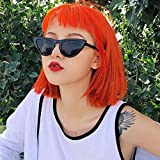 WIG MINE Franja de aire de moda peluca de pelo corto femenino cara redonda en línea celebridad naran...