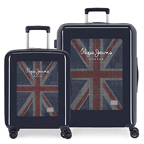 Pepe Jeans Malden Suitcase Set Blue 55/70 cm Rigid ABS Integrated TSA Lock 119.4L 7.1 kg 4 Wheels Double Hand Luggage