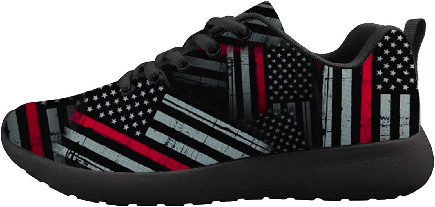 Owaheson Cushioning Sneaker Trail Running shoes Mens Womens Thin Red American Flag Patten