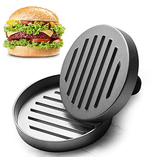 Amy Burger Press - Perfectly Formed Non-Stick Hamburger Press Patty Maker Mold for Making Quarter Lb or Large 1/3 Pound Stuffed Pocket Burgers - Best Aluminum Presser BBQ Gift Idea
