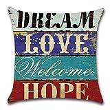 HZDHCLH 4er Set Kissenbezug kissenhülle 45 x 45 cm aus Baumwolle und Leinen Kissenbezüge für Sofa Gartenbett Outdoor Sofakissen Wohnzimmer (Haus & Love) - 7