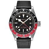 Corgeut 41mm Black Dial Pepsi Bezel Sapphire Automatic Movement GMT Function Men's Watch Luminous Marks (red-Black)