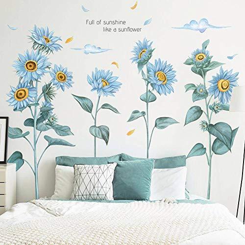 WandSticker4U®- XL Wandsticker SONNENBLUMEN in BLAU I Wandbilder: 96x76 cm I Wandtattoo Wohnzimmer Blumen Blätter Pflanzen Liebe Wand-aufkleber I Wand Deko für Schlafzimmer Küche Flur