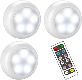 BLS Wireless Dimmable LED Puck Lights with Remote Control, AA-1030 Operated with 3 AA Batteries, Stick on LED Under Cabine...
