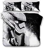 ZJJIAM Star Wars Juego de ropa de cama de microfibra estampada 3D y funda nórdica invisible con cremallera, regalo para niños, niño (11,220 cm x 240 cm)