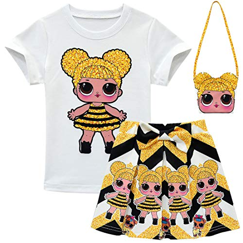 Baby Cute Dolls Confetti Pop Tshirt + Falda + Bolsa para nias Lil Outrageous Little Girl Dress (style1, 120 (4-5 aos))