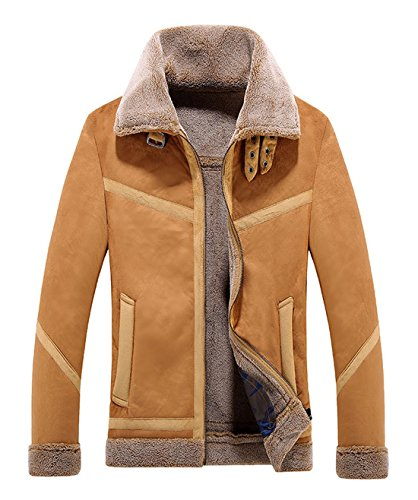 Chartou Men's Winter Spread Collar Sherpa Lined Suede Leather Trucker Jacket Coats (Large, Coffee)