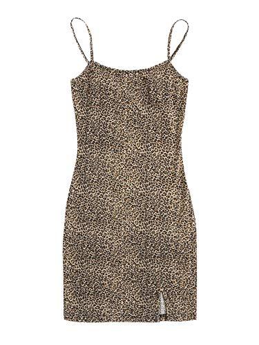 SheIn Women's Basic Leopard Cami Dress Sleeveless Strap Bodycon Split Mini Party Club Dress Multicolored#1 X-Large