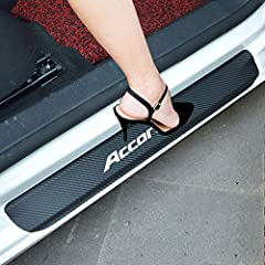 Car Door Sill Decoration Scuff Plate for Honda Accord Color:Red,Blue,White Material:Carbon Fiber,Not Easy To Crack Protect Interior Door Sills From Scratches/Scuffs When Enter Or Exit Your Vehicle Package:4*Car Door Sill(2 For Front Door,2 For Back D...