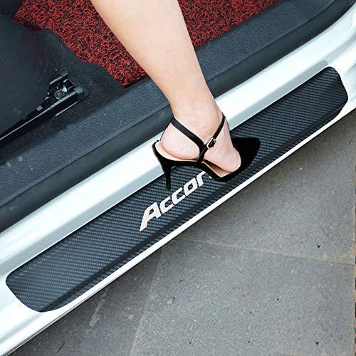 SENYAZON Accord Decal Sticker Carbon Fibre Vinyl Reflective Car Door Sill Decoration Scuff Plate for Honda Accord (White)