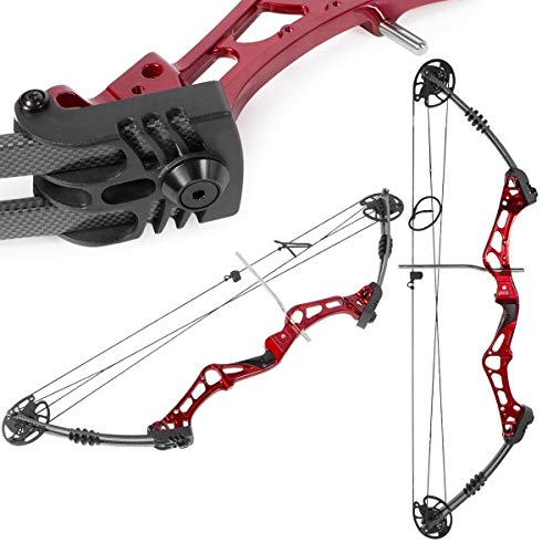 XtremepowerUS Compound Bow 30-55 Lbs 24' to 29.5' Archery Hunting Equipment, Right Handed, Red