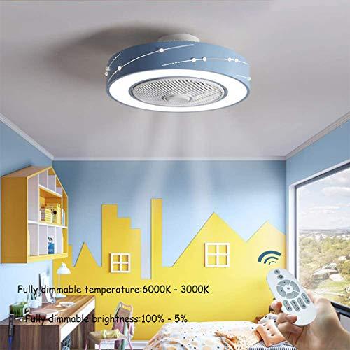 HZL LED Ventilator Deckenleuchte Moderne Creative Lüfter Licht Fernbedienung Dimmbare Quiet Schlafzimmer Kronleuchter Wohnzimmer Kinder Deckenventilator,A