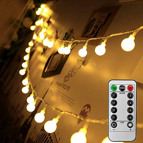 Battery Powered Ball String Lights - 8 Modes with Remote Fairy Globe Lights 16.4ft 50 LED Waterproof Decorative Twinkle Lights for Bedroom Wedding Christmas Party Garden Indoor Outdoor