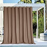 NICETOWN Outdoor Privacy Curtain for Patio Waterproof, Grommet Top Thermal Insulated Blackout Extra Wide and Long Door Blind for Sunroom/Pavilion/Gazebo, Tan, 1 Piece, 120' Wide by 108' Long
