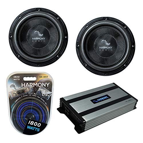 """Harmony Audio (2) HA-C102 Car Stereo Competition Carbon 10"""" Sub 2000W Subwoofer Bundle with HA-A800.1 Amplifier & Amp Kit"""