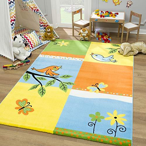 SANAT Teppich Kinderzimmer - Gelb Kinderteppich für Mädchen und Jungen Öko-Tex 100 Zertifiziert, Größe: 160x230cm