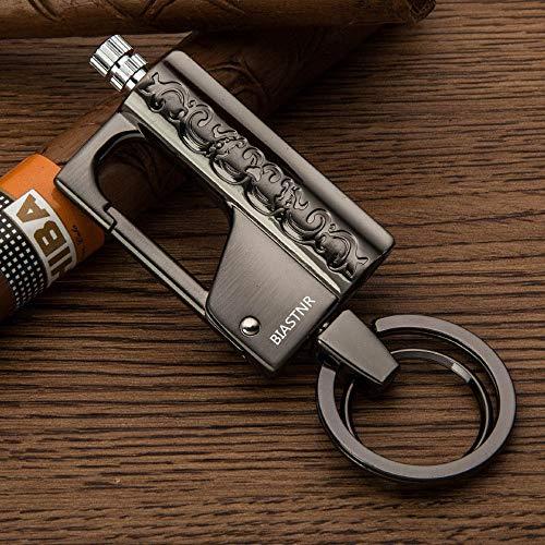 BIASTNR Porte-clés en métal à silex pour allume-feu, allume-feu permanent pour survie et camping, Noir