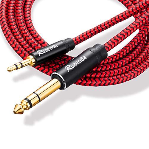 Cable estéreo de 1/4 a 1/8 macho a macho de 0,3 m, Ruaeoda de 6,35 mm a 3,5 mm, cable de audio de 3,5 mm a 6,35 mm TRS con carcasa de aleación de zinc y nailon trenzado compatible para iPod, computadora portátil, dispositivos de cine en casa de 0,3 m.