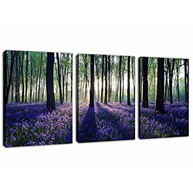 Canvas Wall Art Purple Lavender in Forest Sunshine Painting Prints - 3 Pieces 12  x 16  Modern Morning Woods Big Tree Landscape Contemporary Picture for Home Decoration Office Wall Decor Ready to Hang