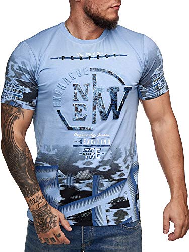 OneRedox Herren T-Shirt Kurzarm 3D Print Rundhals Shirt Shortsleeve Multicolor M-XXXL Modell 1206 Blau XXL