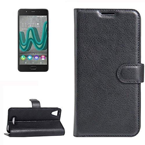 YUCPING Handyhülle Litchi Texture Horizontal Riff Ledertasche Mit Halter und Card Slots und Geldbörse for Wiko U Feel Go (Color : Black)
