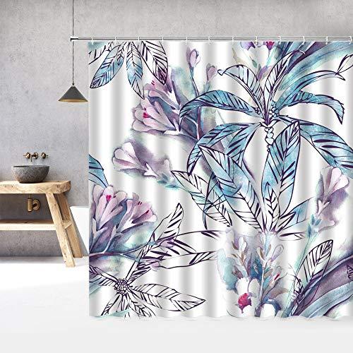 XCBN Cortina de Ducha con patrón de Flores, Cortinas de baño 3D a Prueba de Agua con Ganchos, Cortina de Ducha de baño, Tela Lavable A9 180x180cm