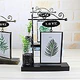 OUYAWEI Iron Luminous Hydroponics Plant Photo Frame Home Desktop Decoration LED Ornaments Black