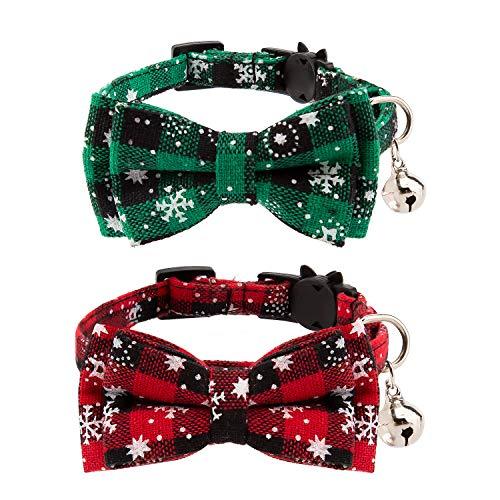 LUTER 2er Pack Weihnachtshals-Katzenhalsbänder, Abnehmbare Katzenbänder Mit Schleife Und Glocken, Verstellbare Halsbänder Für Katzen, Kätzchen- Und Welpenbedarf (Rot, Grün)