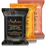 SheaMoisture Makeup Remover Face Wipes Combo Flavor Kit, African Black Soap, Raw Shea Butter, Coconut & Hibiscus, Removes Makeup & Dirt 90 Biodegradable Wipes
