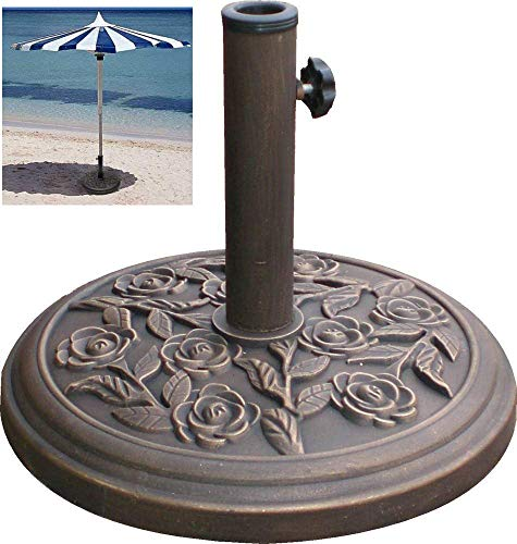 FiNeWaY Heavy Duty 9.5kg 45cm Dia. Cast Iron Parasol Base With Floral Rose Design- Easy To Assemble And Simple To Adjust