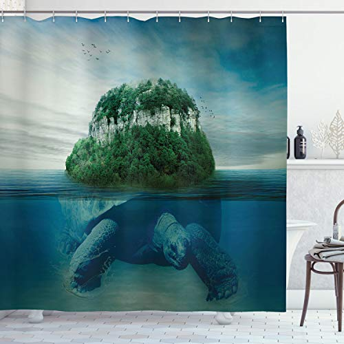 Ambesonne Underwater Shower Curtain, Giant Turtle Carrying Island on Its Back Swimming Under Ocean Print, Cloth Fabric Bathroom Decor Set with Hooks, 84' Long Extra, Green Blue