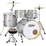 Eastar Drum Set for Adult Junior Teen, 5 Piece Professional Full Size Drum Kit with Cymbals Stands Stool and Sticks, 20 inch, Starry Silver