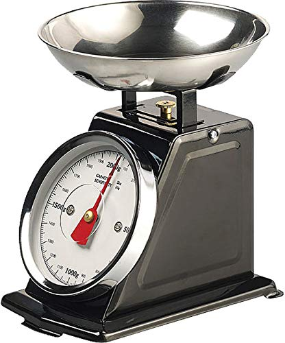 Rosenstein & Söhne Waage: Analoge Retro-Küchenwaage bis 2 kg mit Tara-Funktion, schwarz, Metall (Retro Waage)