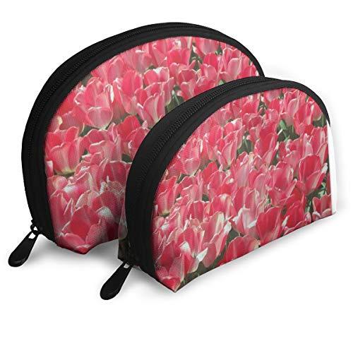Roter Tulpen-Teppich-Hintergrund Tragbare Shell Make-up Tasche Clutch Reise Aufbewahrungstasche Geldbörse