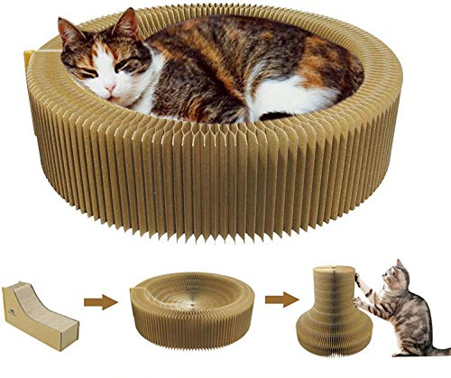 Harmoneazy - Cesta rascador para gatos, 50 cm, cartón de alta densidad, plegable y portátil, perfecta para su sofá y comodidad, bienestar, las garras de su gato